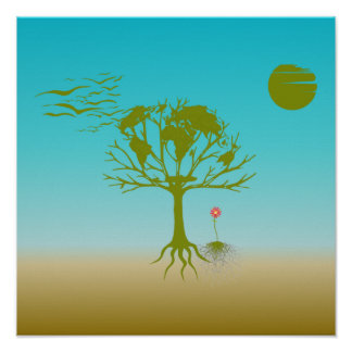 World Tree And Flower Poster