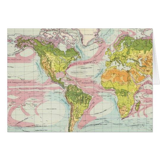 World vegetation & ocean currents Map Card