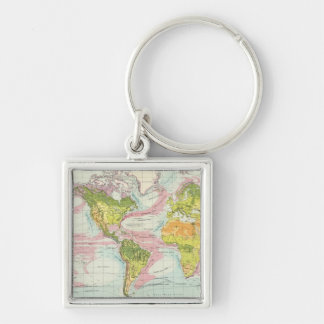 World vegetation & ocean currents Map Keychain