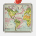 World vegetation & ocean currents Map Christmas Tree Ornaments