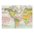 World vegetation & ocean currents Map Postcard
