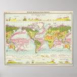 World vegetation & ocean currents Map Poster