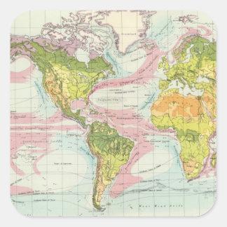 World vegetation & ocean currents Map Square Sticker