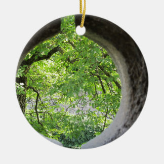 World view through hole ceramic ornament