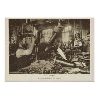 World War 1, France, Artificial limb factory Poster