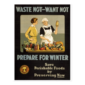 World War 1 poster. Waste not, want not. Postcard