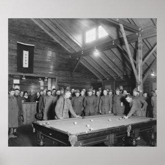 World War 1 YMCA Pool Hall, 1910s Poster
