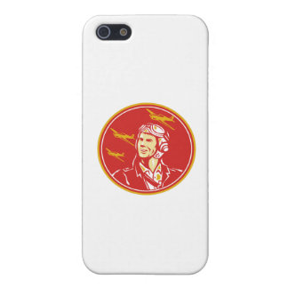 World War 2 Pilot Airman Fighter Plane Circle Retr iPhone SE/5/5s Cover