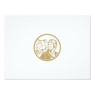 World War 2 Pilot Airman Tiger Gold Circle Retro Card
