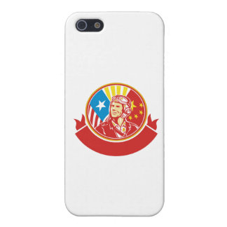 World War 2 Pilot USA China Flag Circle Retro Cover For iPhone SE/5/5s