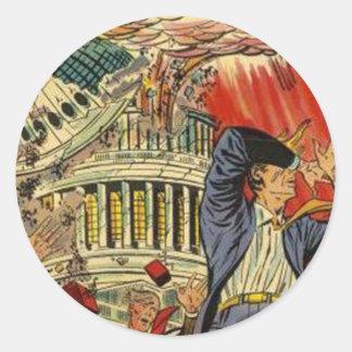 World War 3 Vintage comic book Classic Round Sticker