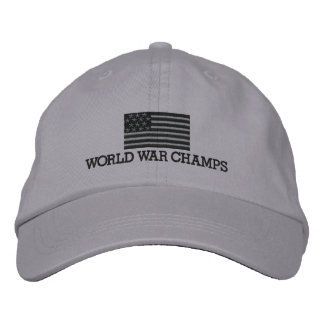 World War Champs - Gray and Black American Flag Embroidered Baseball Hat