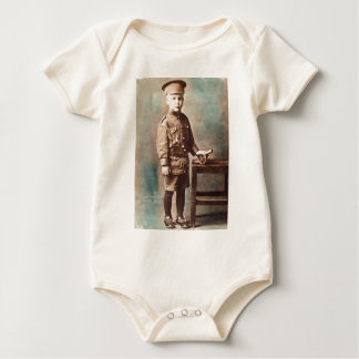 World War I Boy and Toy Cannon Hand Tinted Baby Bodysuit