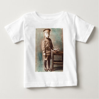 World War I Boy and Toy Cannon Hand Tinted Baby T-Shirt