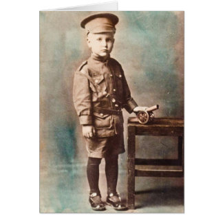 World War I Boy and Toy Cannon Hand Tinted Card