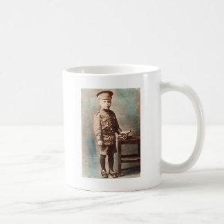 World War I Boy and Toy Cannon Hand Tinted Coffee Mug