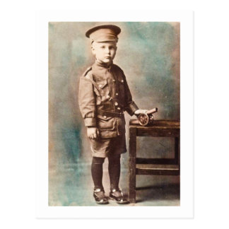 World War I Boy and Toy Cannon Hand Tinted Postcard