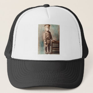 World War I Boy and Toy Cannon Hand Tinted Trucker Hat