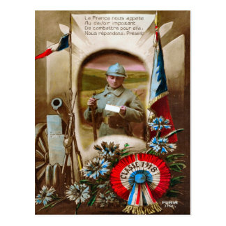 World War I, France,  Classe of 1918 Postcard