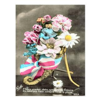 World War I, France,  Flowers for France Postcard