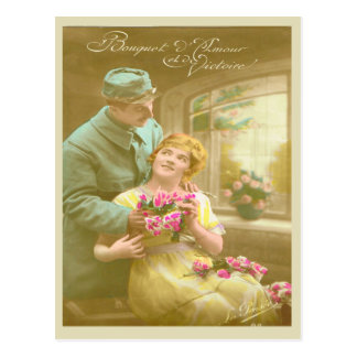 World War I, France, Hello to love and victory Postcard