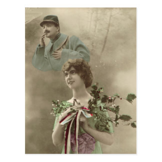World War I, France,  Soldier and his girl Postcard