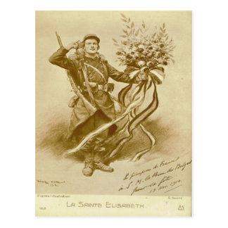 World War I, France,  Soldier with flowers Postcard