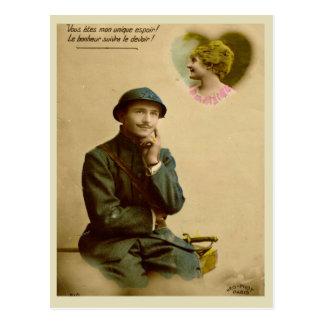 World War I, France,  Thinking of his girlfriend Postcard