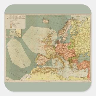 World War I German Submarine (U-Boat) Map (1918) Square Sticker