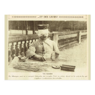 World War I,  Rehabilitation, Basket maker Postcard