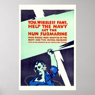World War I Wireless Radio Propaganda Poster