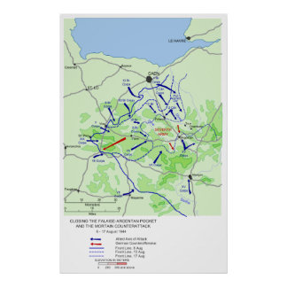 World War II Battle of the Falaise Pocket Map Print