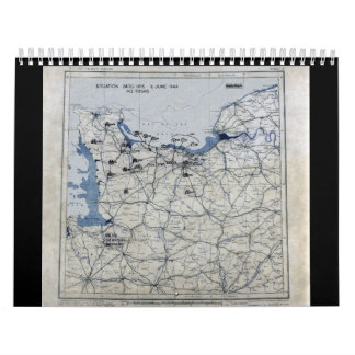 World War II D-Day Map June 6, 1944 Calendar