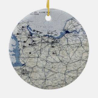 World War II D-Day Map June 6, 1944 Ceramic Ornament