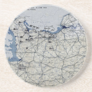 World War II D-Day Map June 6, 1944 Drink Coaster