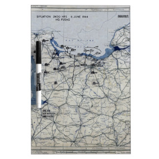 World War II D-Day Map June 6, 1944 Dry Erase Board