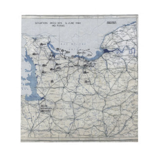 World War II D-Day Map June 6, 1944 Notepad