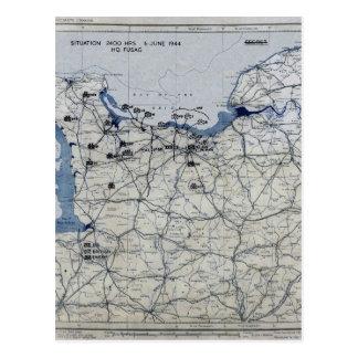 World War II D-Day Map June 6, 1944 Post Cards