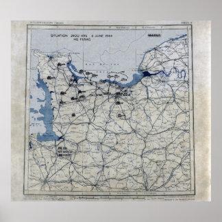 World War II D-Day Map June 6, 1944 Print