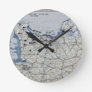 World War II D-Day Map June 6, 1944 Round Clock