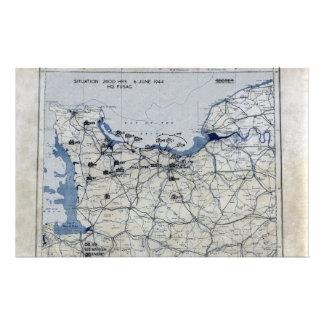 World War II D-Day Map June 6, 1944 Stationery