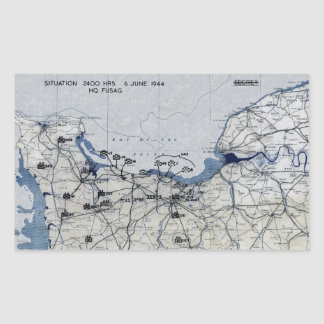 World War II D-Day Map June 6, 1944 Rectangle Stickers