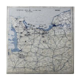 World War II D-Day Map June 6, 1944 Tile