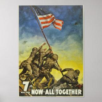 World War II Flag Raising Poster