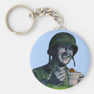 World War II GI eating ice cream Keychain