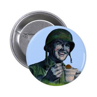 World War II GI eating ice cream Pinback Button