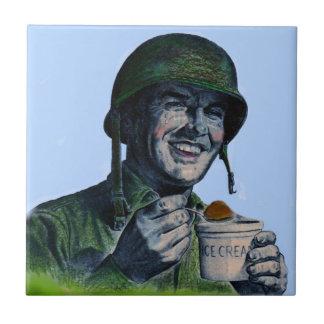 World War II GI eating ice cream Tile