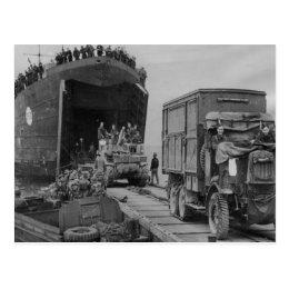 World War II  Lorries and troops disembarking Postcard