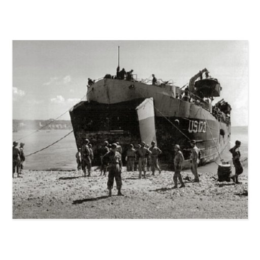 World War II    LST on the beach, Anzio Post Cards