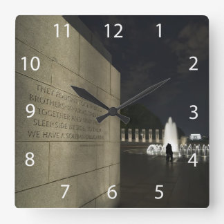 World War II Memorial Square Wall Clock